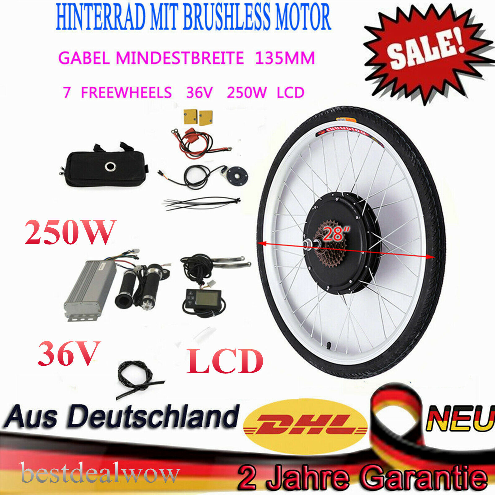 28 36V davanti rueda Electric bicicletta Motor Conversion Kit 250W ebicicletta Hub wLCD