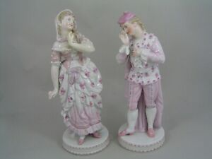 TWO-VINTAGE-CONTINENTAL-8-1-2-034-amp-9-034-FIGURINES-OF-A-LADY-AND-A-GENTLEMAN