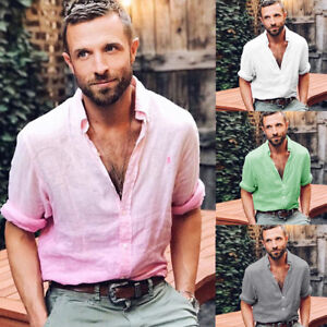 NEW-Stylish-Mens-Linen-Long-Sleeve-Shirt-Cool-Loose-Casual-Shirts-V-Neck-Tops-NG