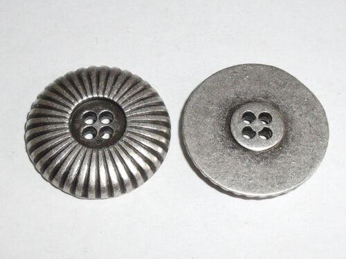6 PZ METALLO BOTTONI BOTTONE BOTTONI 20 mm Merce Nuova altsilber rostfrei 0305