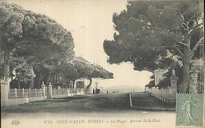 83-cpa-HYERES-La-plage-Avenue-de-la-Gare