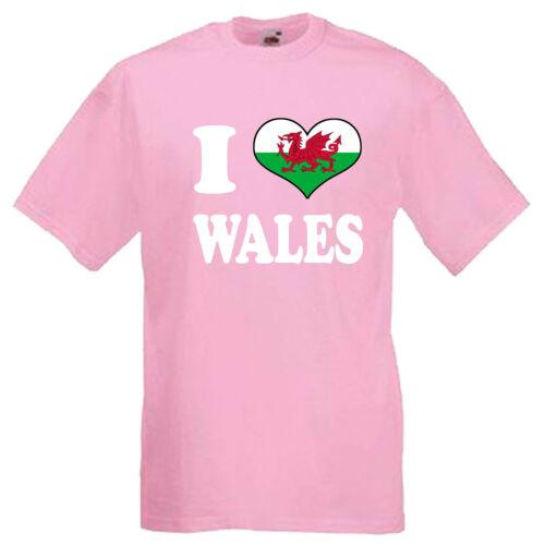 I Love Heart Wales Children/'s Kids Childs T Shirt