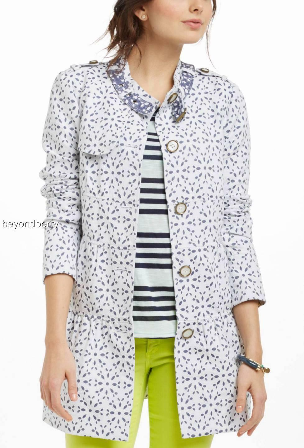 NEW Anthropologie Eyelet Trench by Elevenses  Size 4-6-10-12