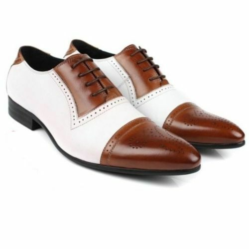 MENS HANDMADE FORMAL CASUAL LEATHER WHITE TWO TONE BROWN & WHITE LEATHER SPECTATOR SHOES 37610e