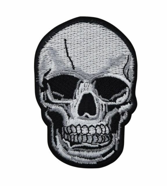 Embroidered Halloween Black /& White Skull
