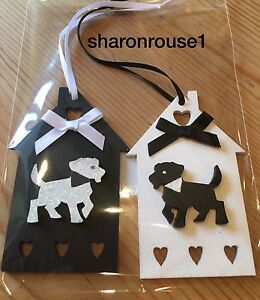 2 X  Dog Hanging Decorations Real Wood Handmade Hand Painted Black White - <span itemprop=availableAtOrFrom>Scaldwell, Northamptonshire, United Kingdom</span> - to be returned in original unopened packaging - buyer to pay postage Most purchases from business sellers are protected by the Consumer Contract Regulations 2013 which - Scaldwell, Northamptonshire, United Kingdom