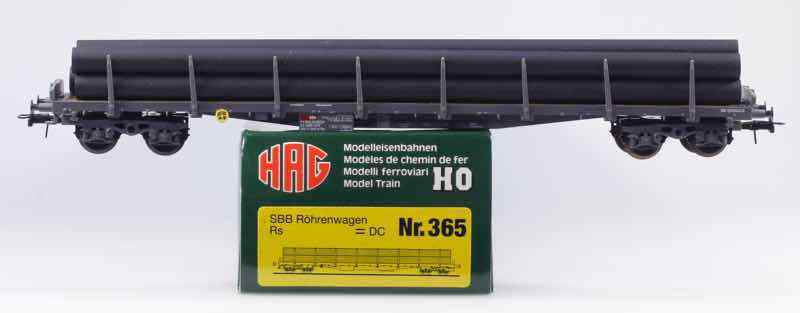 HAG H.O. SBB 4 Axle Stake Car w  Pipe Load & Märklin Couplers, LN BX