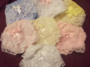 DREAM GIRLS ROMANY FRILLY KNICKERS WHITE PINK LEMON BLUE CREAM 0-2 YEARS REBORN