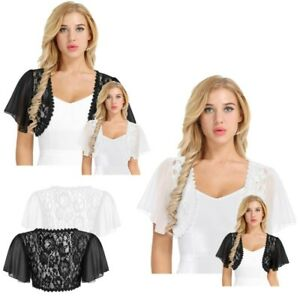 Women-039-s-Floral-Lace-Chiffon-Shrug-Cardigan-Tops-Open-Front-Bolero-Coat-Cover-Ups