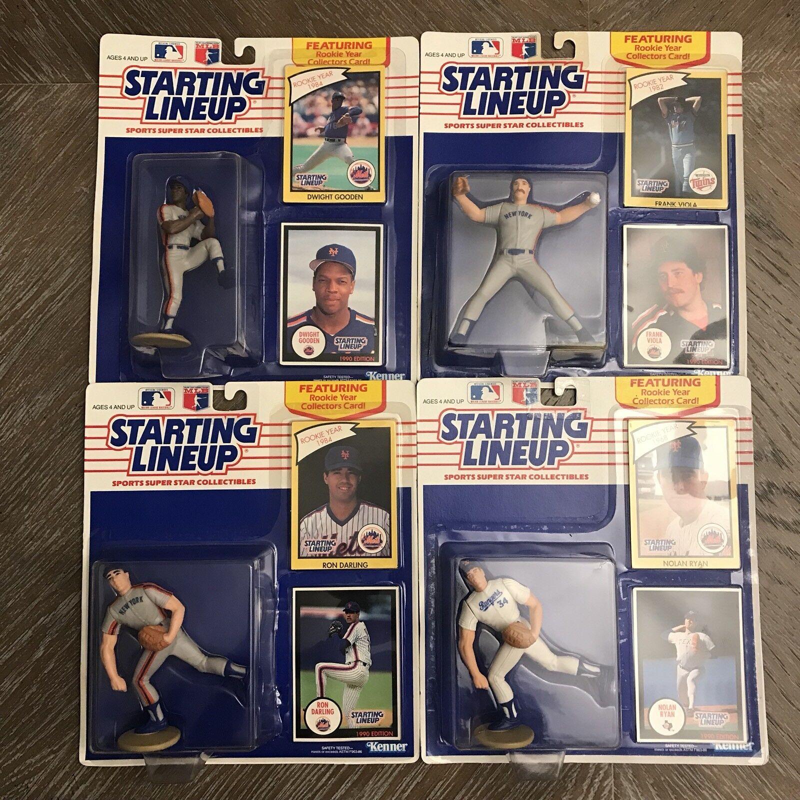 1990 a partir Lineup NY Mets pitcheo Ron Darling Nolan Ryan D Gooden F viola