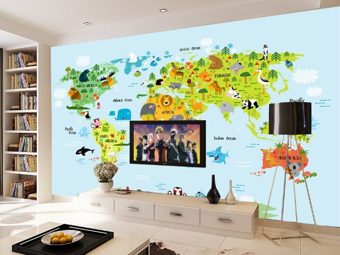 3D Pale Blau World Map Paper Wall Print Decal Wall Wall Murals AJ WALLPAPER GB