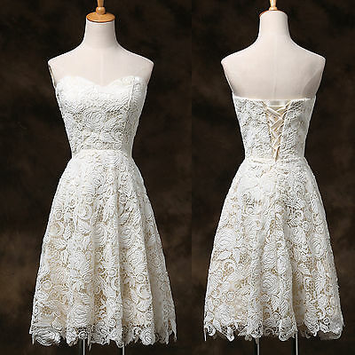 A LINE vintage Short Lace &Satin Ball Formal Graduation Evening Prom Party Dress