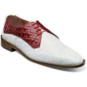 938815b5848 Details about Stacy Adams Men's Shoes Russo Leather Sole Oxford White Red  25273-120