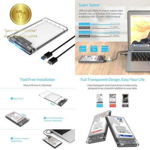 ORICO 2.5 USB 3 External Hard Drive Enclosure Casing for 2.5 inch 7mm//9.5mm SATA