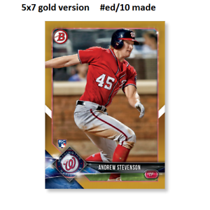 ANDREW STEVENSON Nationals RC #85 Gold Version #ed10 made 2018 Topps Bowman 5x7