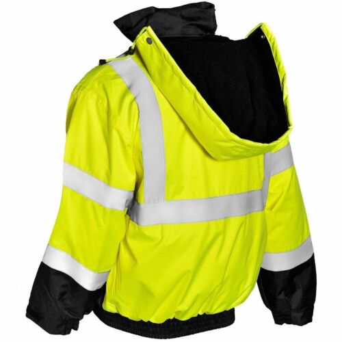CLASS 3 MENS BOMBER M-5XL REFLECTIVE FLEECE LINED SAFETY JACKET WATERPROOF