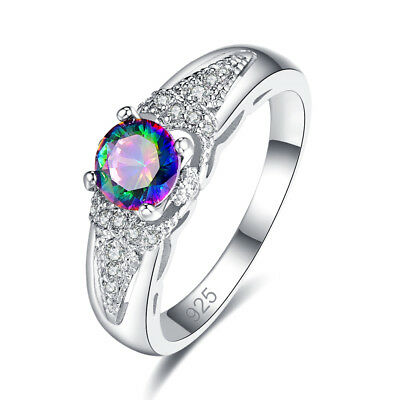 Sapphire /& Rainbow White Topaz Gemstone Silver Wedding Band Ring Size 6789 Gifts