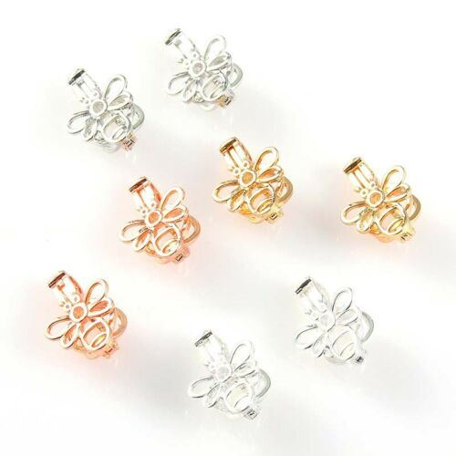 5Pcs Silver//Gold Little Bee Pearl Beads Cage Pendant DIY Necklace Craft Making