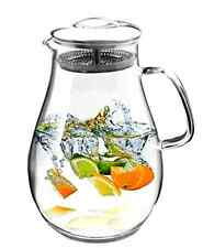 Glass Pitcher With Stainless Steel Lid, 64 Oz Water Carafe With Handle  Brand New