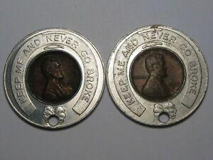 2-Encased-Coins-1957-d-Wheat-Pennies-034-1st-State-Bank-East-Detroit-MI-034-213
