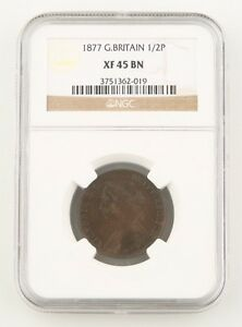1877-Great-Britain-1-2-Penny-Bronze-Coin-XF-45-BN-NGC-Victoria-Half-Cent-KM-754