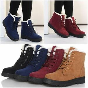 Winter-Womens-Ladies-Warm-Fur-Lined-Lace-Up-Flat-High-Ankle-Snow-Boots-Shoes-LG