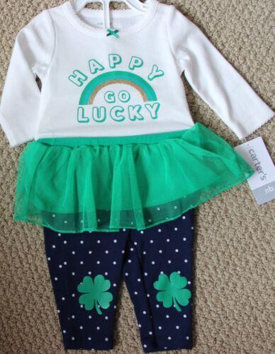 Carter/'s St Patrick/'s Day Happy Go Lucky Bodysuit Pants Shamrock NB NWT Newborn
