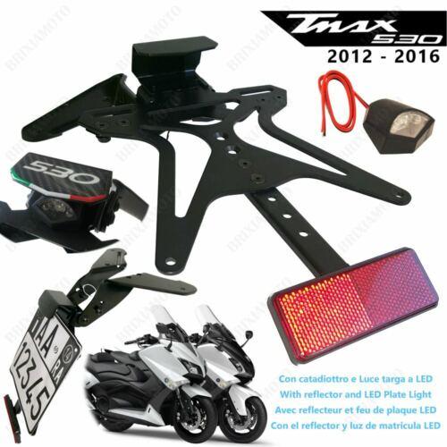 PORTAMATRICULA RACING YAMAHA T-MAX 530 2012-2016 CON LUZ LED Y REFLECTOR
