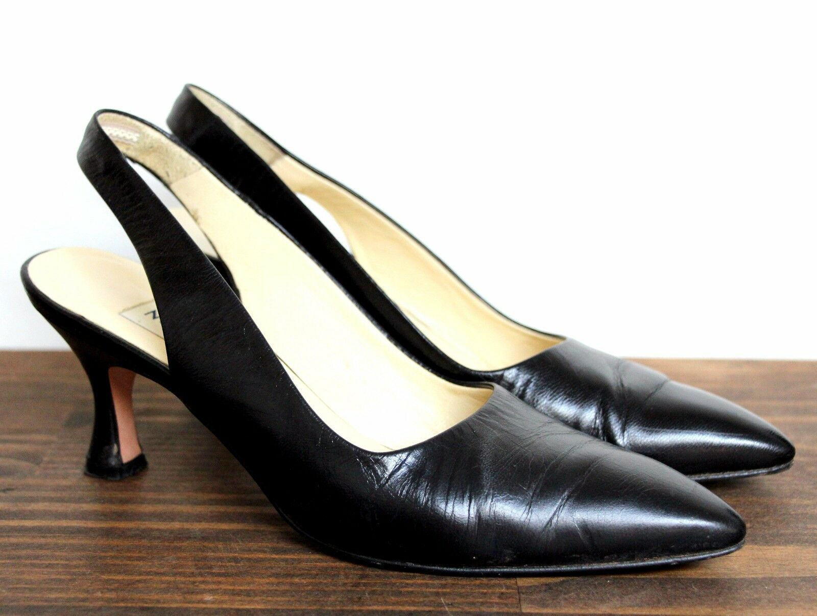 VINTAGE NORDSTROM ITALY PUMPS BLACK GENUINE LEATHER SLINGBACK PUMPS ITALY MED HEEL SHOES 7N cd0322