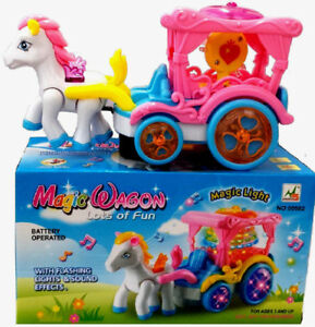 PONY CARRIAGE BUMP AND GO GIRLS TOY BUBBLE MAKING PRINCESS DREAM TOYS LED LIGHTS