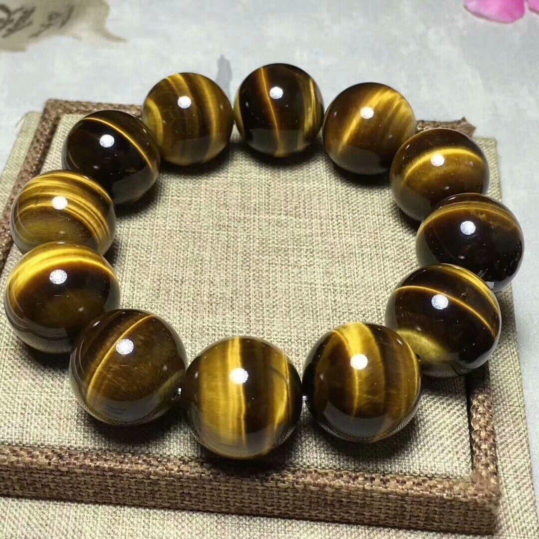 20mm Natural Gemstone Man Bracelet Yellow Tiger's Eye Round Beads AAA