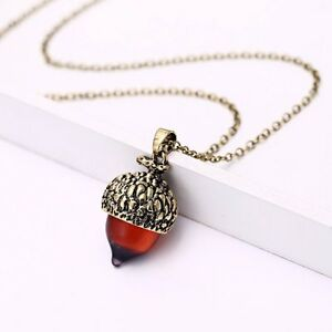 Vintage charm nut tiny acorn pendant necklace chain jewelry lady image is loading vintage charm nut tiny acorn pendant necklace chain mozeypictures Image collections