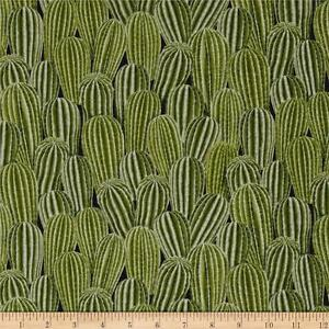 Timeless-Treasures-Packed-Cactus-Plant-Green-100-cotton-fabric-by-the-yard