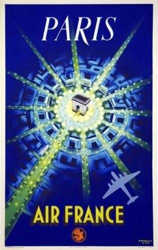 Paris Affiche AIR FRANCE P.Baudouin 1947