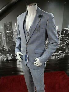 Cavani-Blue-Tweed-3-Piece-Suit-Slim-Fit-Check-Chest-40-034-Waist-34-034-Peaky-Blinders