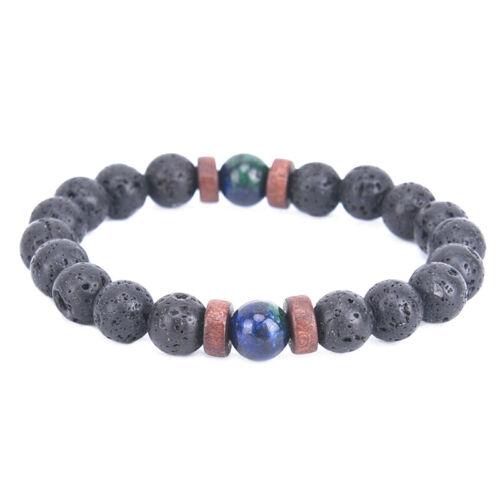 Prière Mala Perles Pierre De Lave Chrysocolla Perlé Yoga Bracelets Cadeau 9H