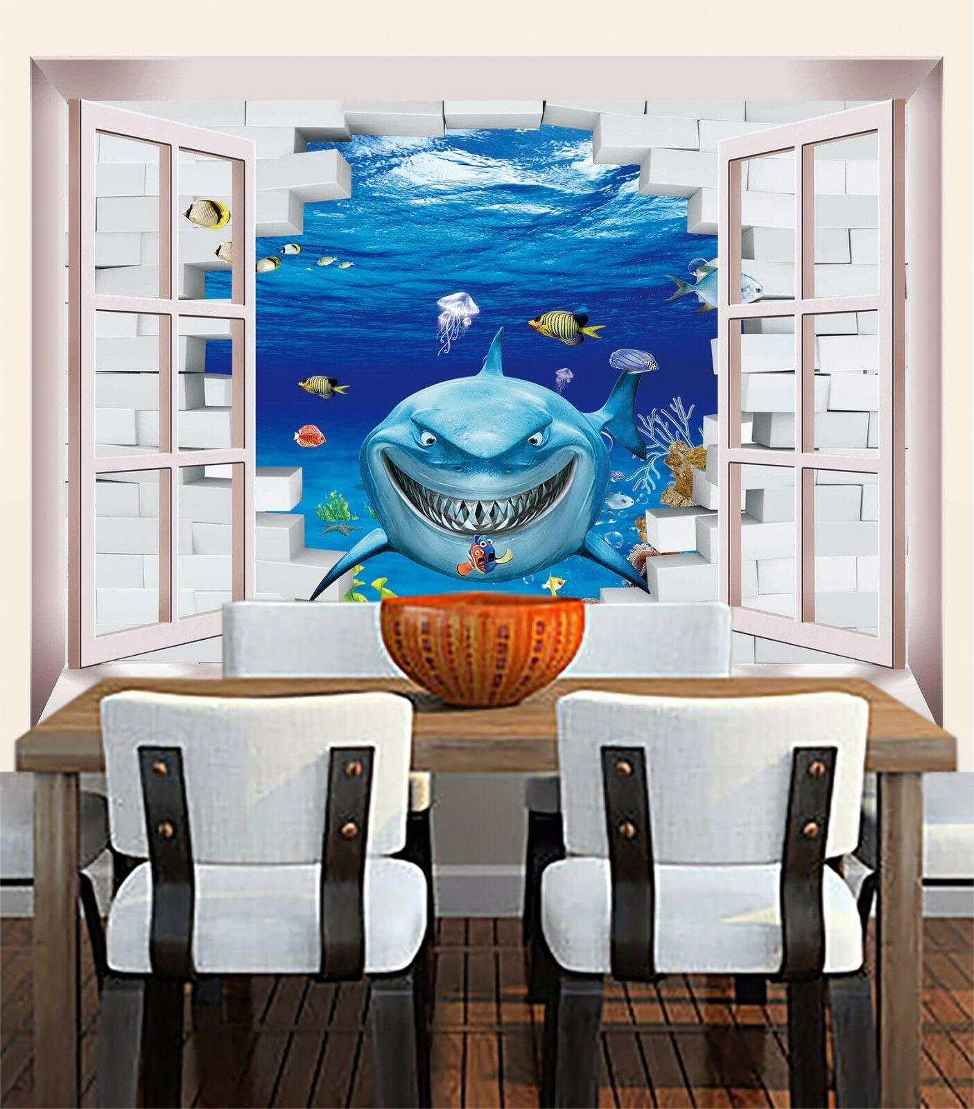 3D Evil Shark Window 73 Wall Paper Murals Wall Print Wall Wallpaper Mural AU Kya