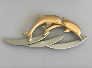 Gold-tone-metal-with-crystals-Vintage-dolphin-brooch-pin