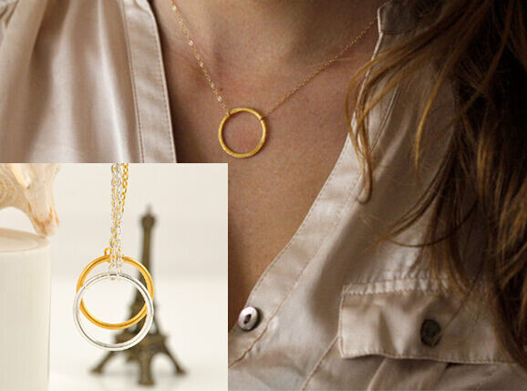 1PC Gold/Silver Forever Circle Ring Pendant Necklace Eternity Infinity Jewelry