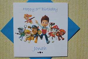 Image Is Loading Handmade Personalised Paw Patrol Birthday Card Any Age