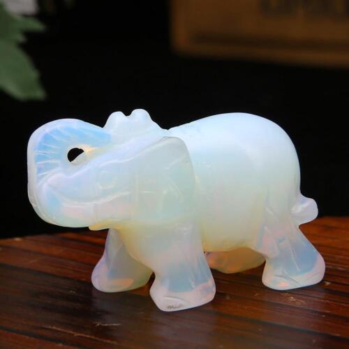 Weiße Sri Lanka Mondstein-Hand geschnitzte-Elefant-Opal-Edelstein-Verzierungs