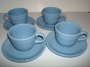 Vintage Fiesta Retired Periwinkle Blue 4 each Cups & Saucers Sets