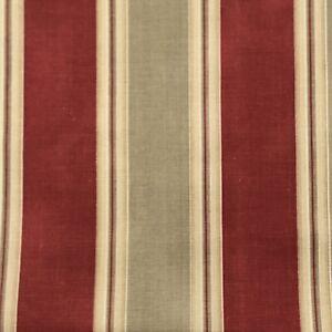 "Waverly Country Club Ticking Stripes Fabric Tan Barn Red Decor 1 Yard x 54"" New"