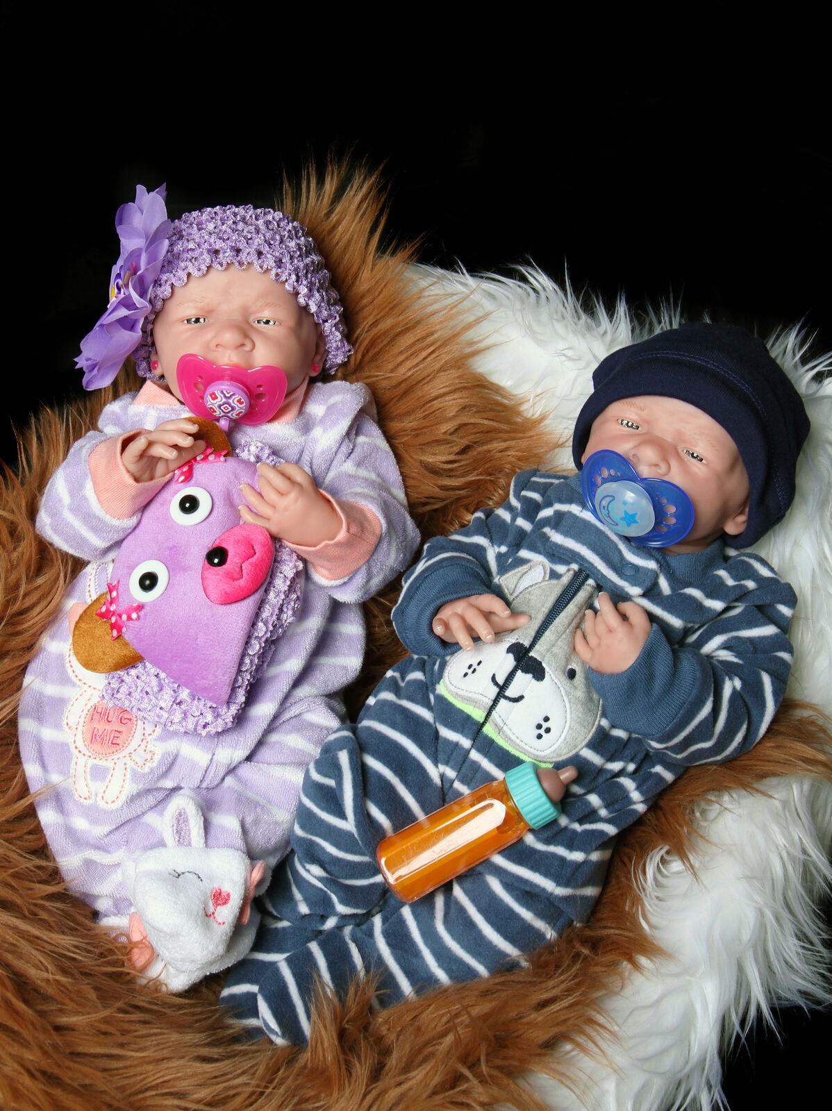 Bebés Reborn Twin boy & girl doll preemie 15  pulgadas Lavable Berenguer realista