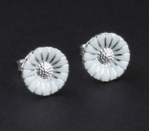 f36555f39 Image is loading GEORG-JENSEN-Earrings-Sterling-Silver-Daisy -Rhodinated-with-