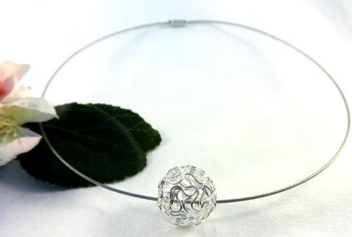 Bola de oro maduros halsreif Collier alambre pedrería novia joyas pelota perla cadena