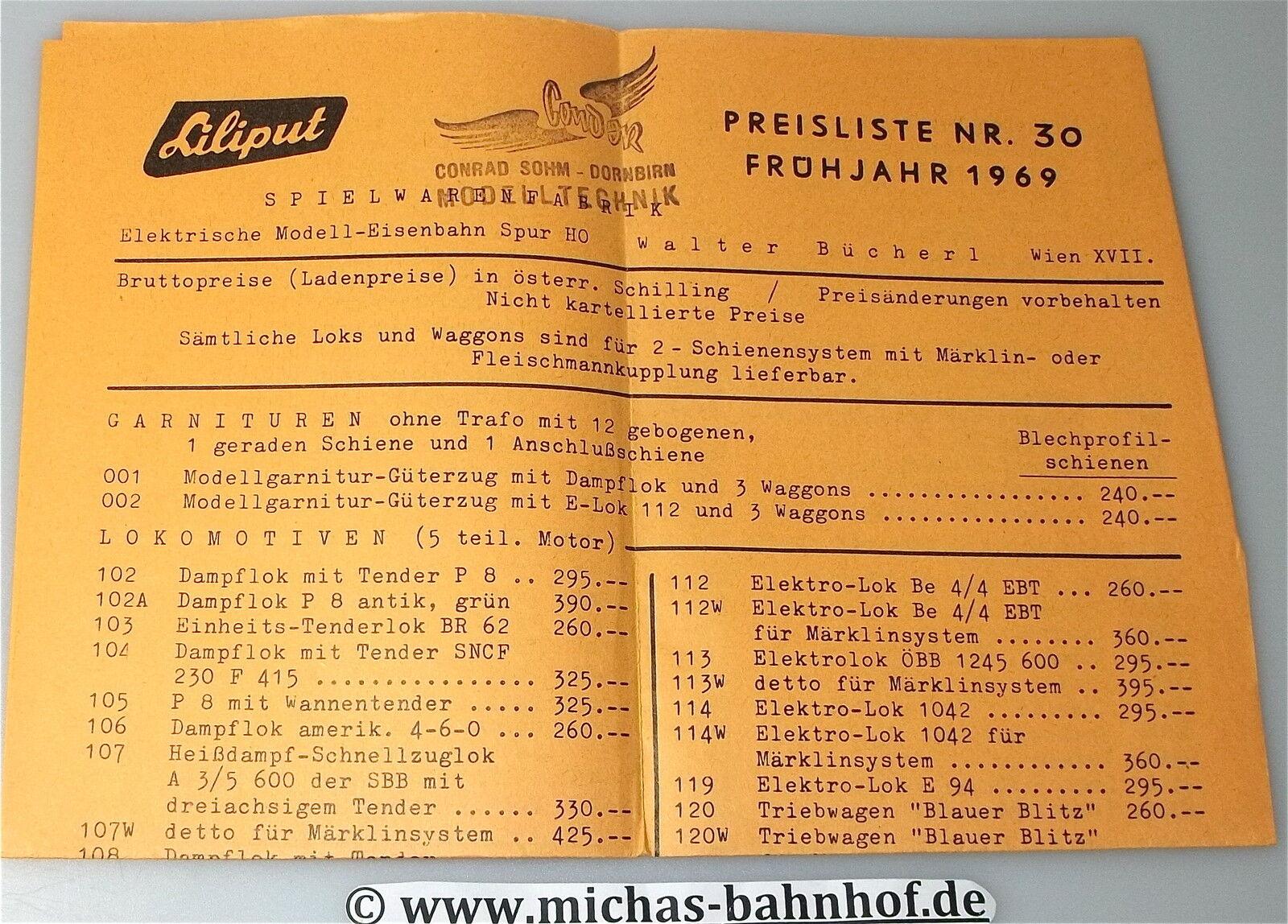Liliput preisliste nr 30 frühjahr 1969 å