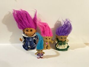 Trolls-Vintage-Russ-And-Ace-Troll-Doll-Lot-1980-039-s-Dolls-Some-With-Clothes