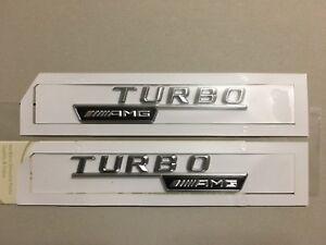 2x Mercedes-Benz  AMG Turbo Badge Emblem Decals Chrome