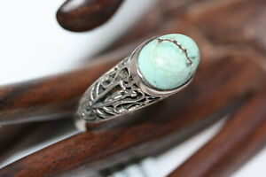Sterling-Silver-Designer-Large-Cabochon-6-CT-Turquoise-Filigree-Ring-Sz-8-75-NWT